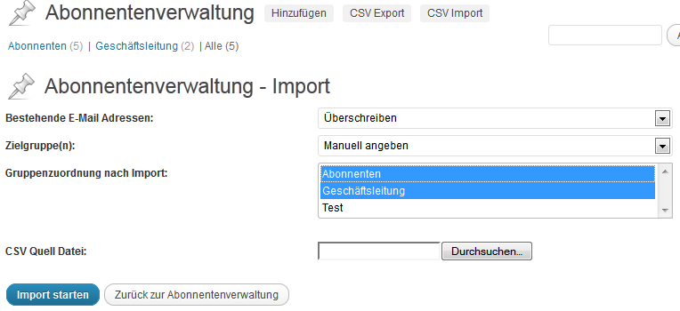 Import und Export von Abonnenten über CSV Dateien