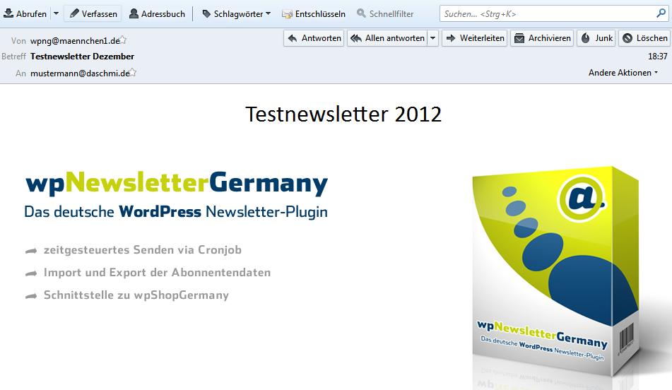 Bilder sind im wpNewsletterGermany direkt in die HTML Mail eingebunden.
