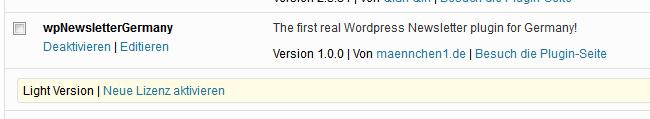 Integration des wpNewsletterGermanys als WordPress Plugin